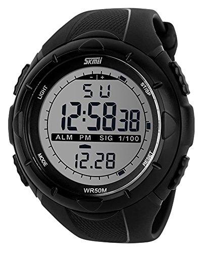 KAIKSO-IN Neue Art und Weise Männer LCD Digital Stoppuhr Datum wasserdicht Gummi-Sport-Armbanduhr Schwarz