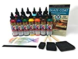 Unicorn SPiT Bundle - All 14 Colors (4oz Bottles), 1 Quart Famowood Glaze, 3 Foam Brushes, Reference Card