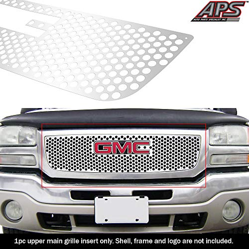 APS Compatible with 2003-2006 GMC Sierra 1500 2500 HD W Logo Show Stainless Laser Cut Grille Sheet