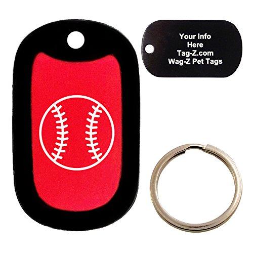 Custom Engraved Pet Tag - Baseball - Red - Dog Tag - Tag-Z Wag-Z (Silencer Bat Baseball)