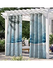 Adorise Patio Curtain Winter Time Typographic Design Hand Drawn Style Phrase Blue Watercolor Spot Heavy Duty Outdoor Curtain Panel for Outdoor Porch Pergola Cabana Sun Room Deck