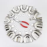 12pcs Dental Lab Stainless Steel Impression Trays NEW Detachable with a plier
