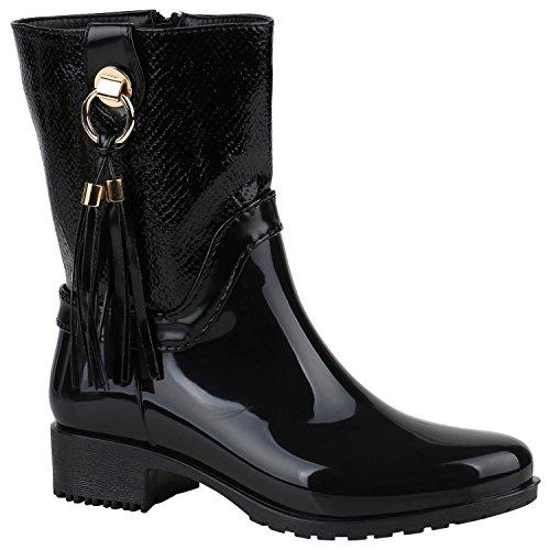 Stiefelparadies Damen Gummistiefel Profilsohle Stiefel Boots Leder-Optik Schuhe Nieten Lack Schlupfstiefel Blockabsatz Flandell Schwarz Quasten