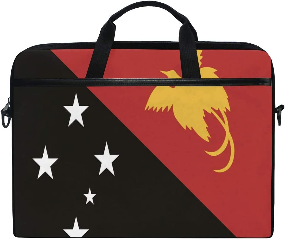 Ainans Papua New Guinea Flag 15 inch Laptop Case Shoulder Bag Crossbody Briefcase Messenger Sleeve for Women Men Girls Boys