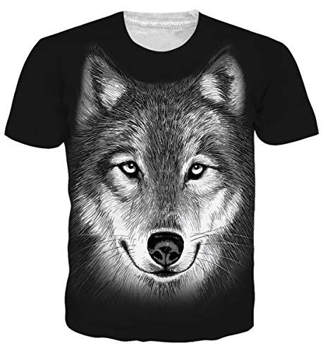 (Belovecol Mens Womens Cool Wolf Graphic Tee Shirts Funny 3D Printed Short Sleeve Crewneck T Shirts Tops L)