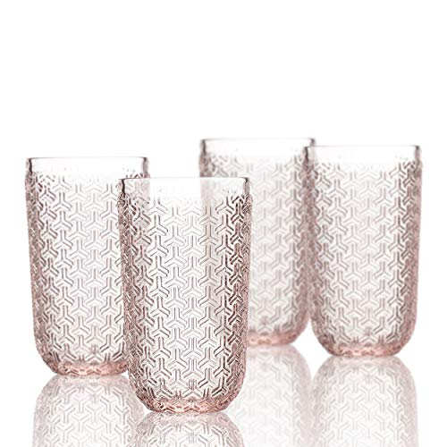 Elle Decor 229806-4HBPU Bistro Key 4 Pc Set Highball, Pink-Glass Elegant Barware and Drinkware, Dishwasher Safe, 14 oz,