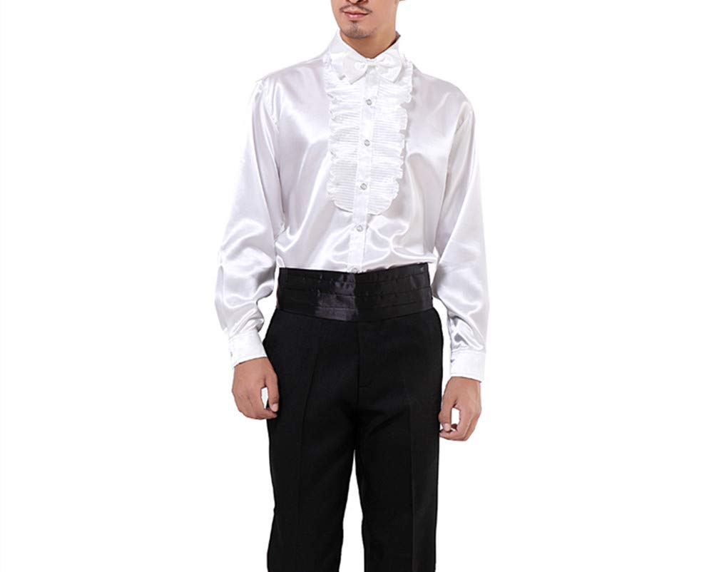 Men Shirts Victorian Tuxedo Satin Long Sleeve Ruffle Stand-up Collar Blouses (S, White 1) by SEVEN O