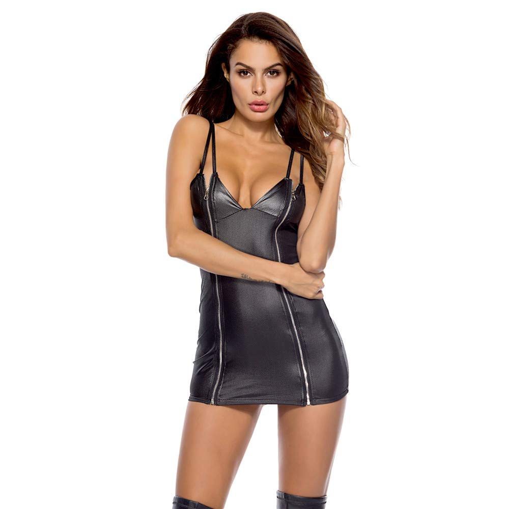 dfb79a3619b Amazon.com  NEARTIME Women Sexy Clubwear Artificial Leather Siamese Lingerie  Zipper Front Underwear Bodysuit Costumes 1 Piece  Clothing
