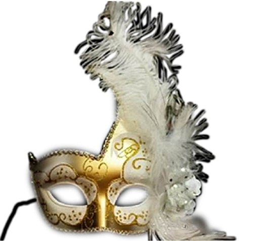 Venetian Luxury Style Gold Masquerade Mask Feather White (Feathered Masquerade Mask)