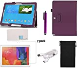 Llamamia Samsung Galaxy Note PRO 12.2 inch SM-P900 Tablet Case Set - Folio Flip Stand PU Leather Case Cover Protector + 2 Screen Protectors + USB Cable + Stylus Pen + Velvet Pouch Bag + Cleaning Cloth in Retail Packaging (Purple)