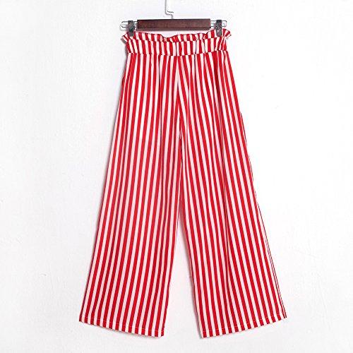 a donna maniche con Harem taglio lunghe YanHoo Pantaloni strisce larga Spiaggia Donna Smocked da Rosso pantaloni Boho alta da Pants gamba Boho Waist con vita Pantaloni a RSqBRxAwa