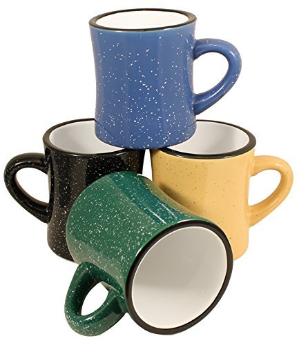 MinWill Brands Heavy Ceramic Campfire Diner Coffee Mugs with Pan Scraper, 10 Ounce, 4-Pack, Assorted Colors