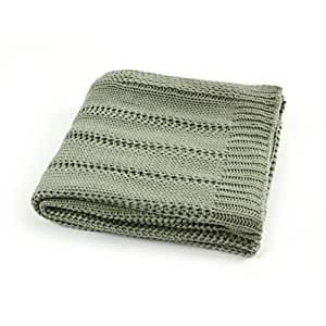 EverGrace Solid Knitted Throw Blanket for Sofa or Couch Cozy Knit Throw Textured Ombré Effect for Bedroom Décor 100% Acrylic Throw W130 x L150cm (Sage)
