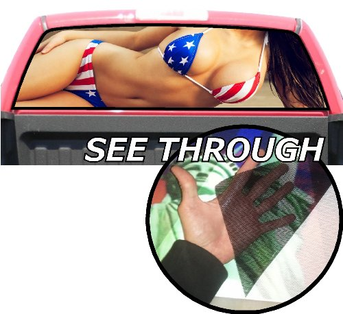 P165 American Flag Model Tint Rear Window Decal Wrap Graphic Perforated See Through Universal Size 65