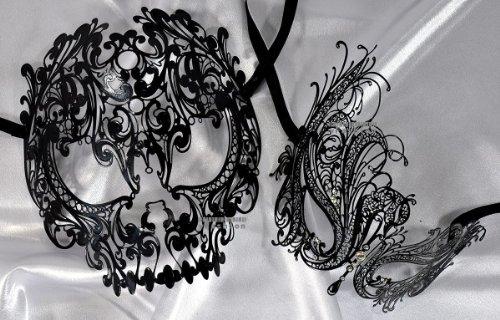 Lovers Collection Men Women Couple Black B6 Combo Cut Venetian Masquerade Mask Event Party Ball Mardi Gars]()