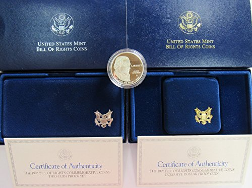 1993 S US Mint Bill of Rights Commemorative Empty Boxes 1 & 3 Coin Set with OGP/COA + 1 Silver Dollar Commemorative Coin (see description for details) Proof