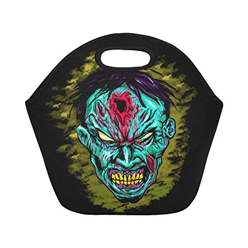 Insulated Neoprene Lunch Bag Zombie Face Large Size Reusable Thermal Thick Lunch Tote Bags For Lunch Boxes For Outdoors,work, Office, School ()