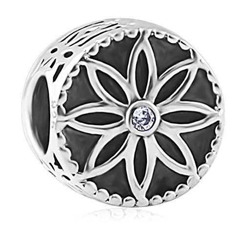 Black Enamel Drop (BEAUTY CHARM 925 Sterling Silver Beautiful flower Bead DIY Black Enamel Charm Fit Pandora Chain or Bracelet)