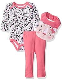 Baby Girls' 3 Piece Pant Set With Long Sleeve Lap Shoulder Bodysuit and 3D Bib