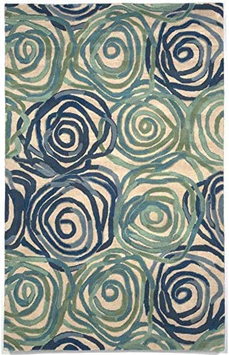 Liora Manne 8106 22 Tivoli Rambling Rose Playa Indoor Wool Rug, 9 X 12 , Blue and Green