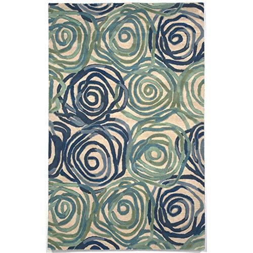 Liora Manne Tivoli Rambling Rose Playa Indoor Wool Rug, 5 X 8 , Blue and Green