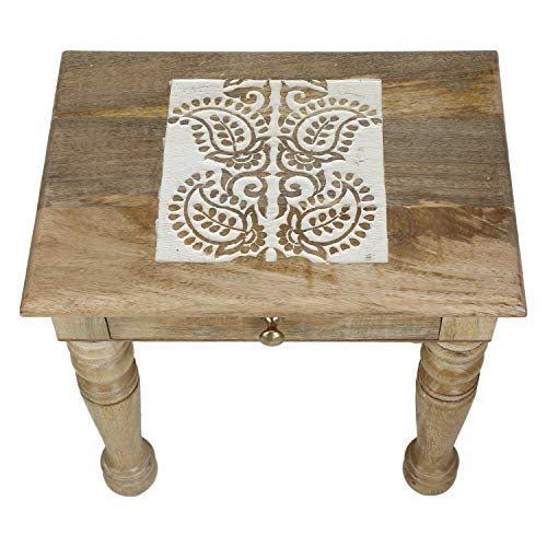 (SAVON Wooden Side end Table Square White Paisely Carved)