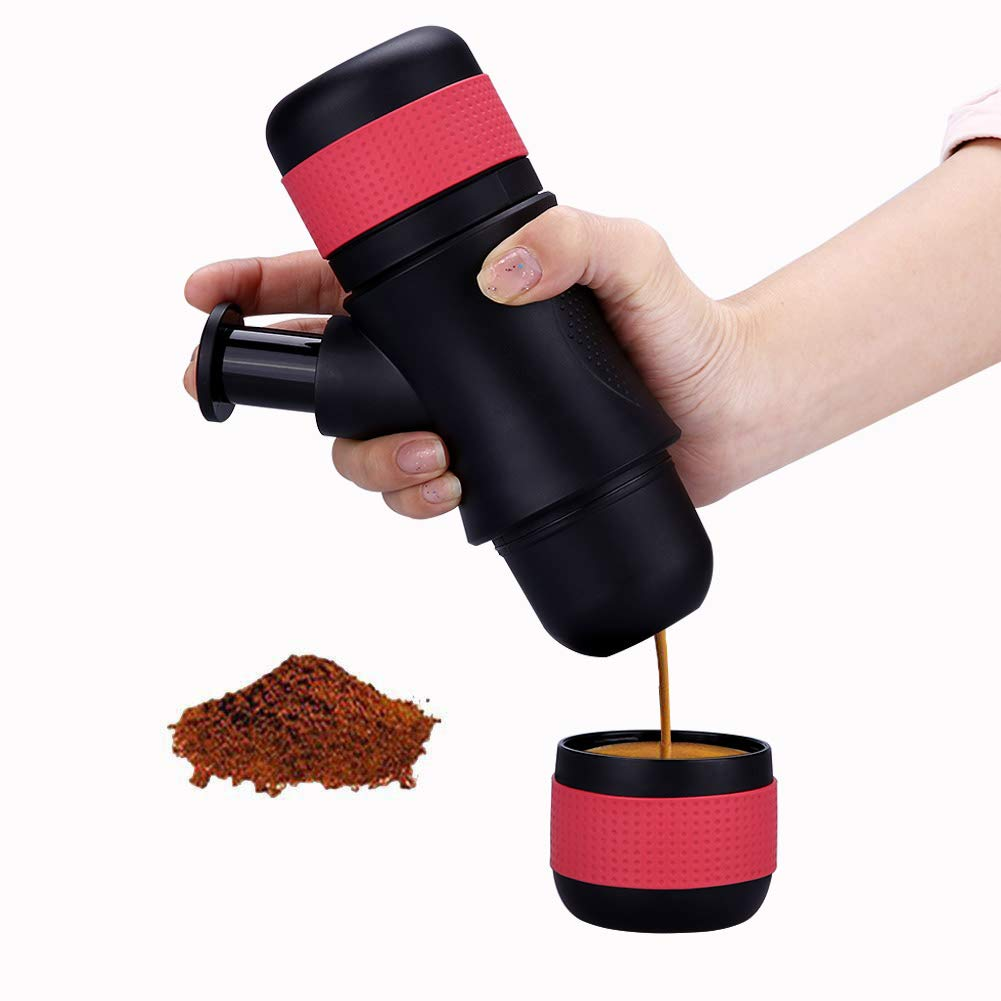 Portable Espresso Maker, Small Travel Coffee Maker Hand Operated Coffee Machine Compatible Ground Coffee Pressure Coffee Machine for Home Office Travel Outdoor Camping Hiking Picnic Gift