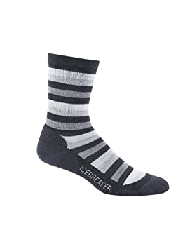 07561c8bab Icebreaker Women's Lifestyle Light Crew Socks, Small, Jet/Twister/Blizzard  Heather