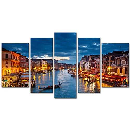 Venice Italy Photos - Canvas Print Wall Art Painting For Home Decor View On Grand Canal At Night Venice Italy The Basilica Of St Mary Of Health Or Basilica Di Santa Maria Della Salute At Night 5 Piece Panel Paintings Modern Giclee Stretched And Framed Artwork The Picture For Living Room Decoration City Pictures Photo Prints On Canvas