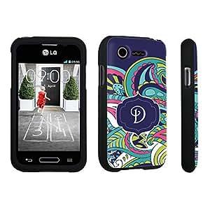 DuroCase ? LG L34C Optimus Fuel / LG Optimus Zone 2 VS415PP Hard Case Black - (Mint Flower Monogram D)