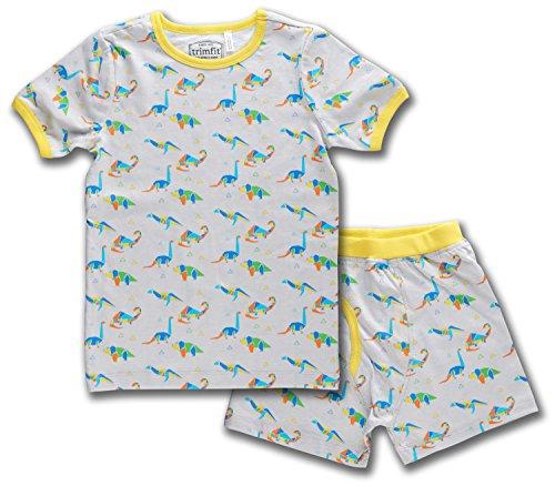 Trimfit Boys Organic Cotton 2-Piece Short Sleeve Pajama Set, Geo Dino, XL
