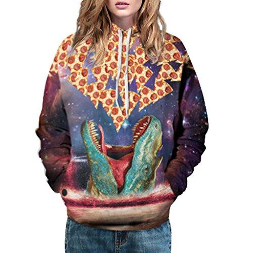 Jiayiqi Sudadera De Cuello Impresión Digital Mujeres Grandes Bolsillos Con Capucha Lazo Dinosaurio