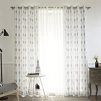 Lovely Best Home Fashion UMIXm Muji Sheer And Sketched Arrow Print 4 Piece Curtain  Set U2013 Stainless