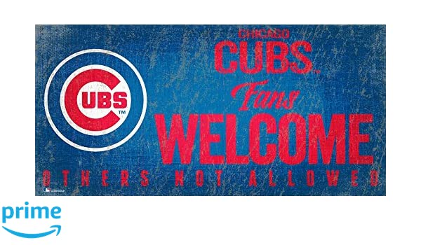 Chicago Cubs 12x6 Fans Welcome Wood Sign