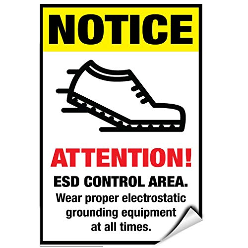 (Label Decal Sticker ESD Control Area Wear Electrostatic Grounding Equipment Durability Self Adhesive Decal Uv Protected & Weatherproof)