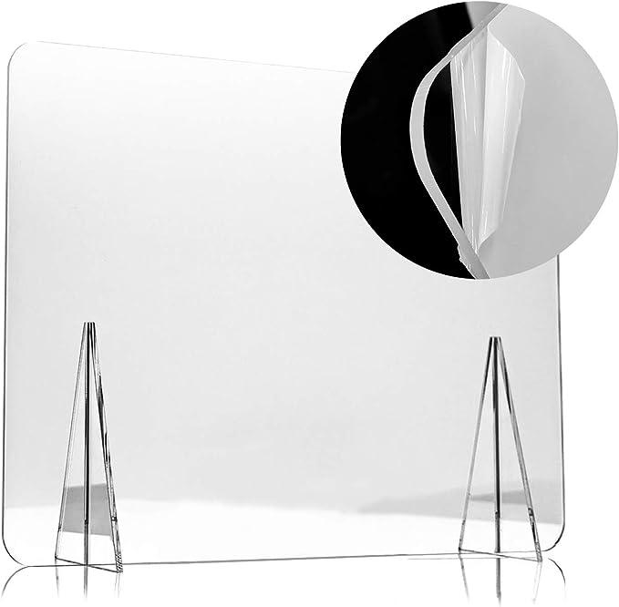 Mampara Protectora de Metacrilato de 80x60cm para Escritorio y Mesa, Transparente, Grosor de 3mm, Mampara de Protección para Oficina, Bar, Cafetería y Restaurante, 80x60cm: Amazon.es: Oficina y papelería