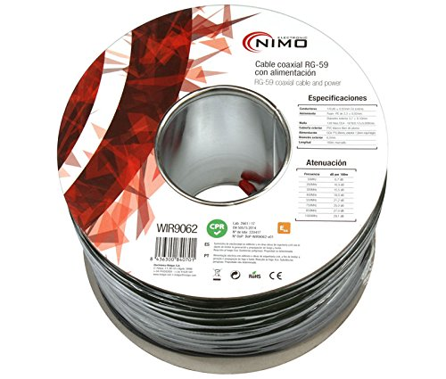 Cable coaxial 75 ohm RG-59 + Alimentación (DC Power): Amazon.es: Electrónica