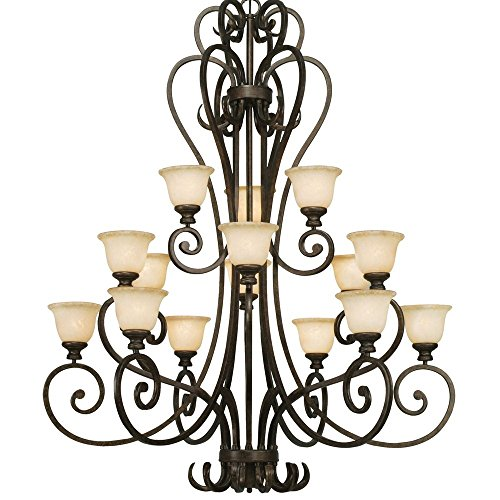 Golden Lighting 8063-15L BUS Chandelier with Tea Stone Glass Shades, Burnt Sienna Finish ()