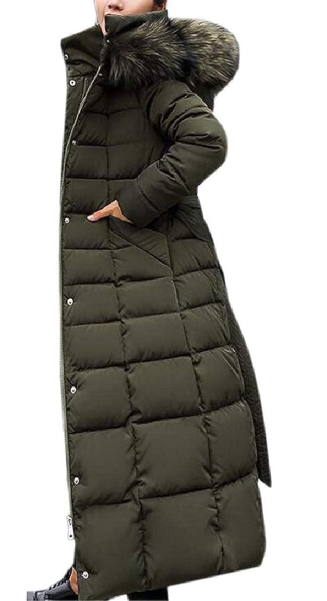 2 LEISHOP Women's Winter Faux Fur Hooded Puffer Mid Long Padded Parkas Coat