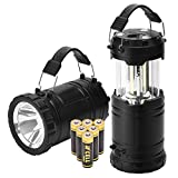 LED Camping Lantern - PACEARTH COB LED Camping Lantern Handheld Flashlight 2 in 1 Magnetic Base Removable Handle Spotlight Brighter 3 AA Batteries Emergencies Hurricane Power Outage 2-Pack