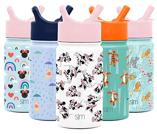 Simple Modern 14oz Disney Summit Kids Water Bottle Thermos with Straw Lid - Dishwasher Safe Vacuum Insulated Double Wall Tumbler Travel Cup 18/8 Stainless Steel - Disney: Minnie Retro