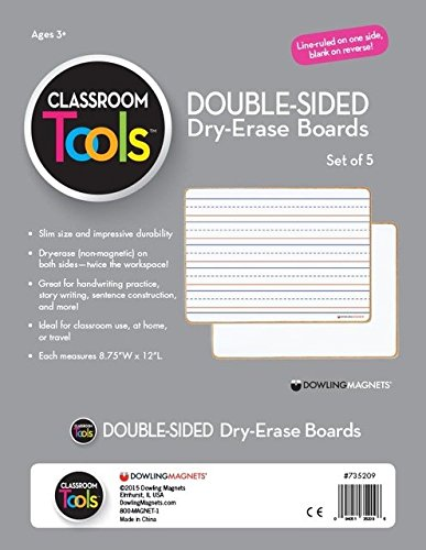 - Dowling Magnets 735209 Double-Sided Non-Magnetic Dry-Erase Boards, Grade: Kindergarten to 12, Composite Wood, 11.88