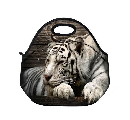 New Fashion Travel Outdoor Cooler Thermal Waterproof Lunch Bag Picnic Tote Box Container Insulated Zip Out Removable School Carry Handle Tote Lunch bag - White Tiger D-25428