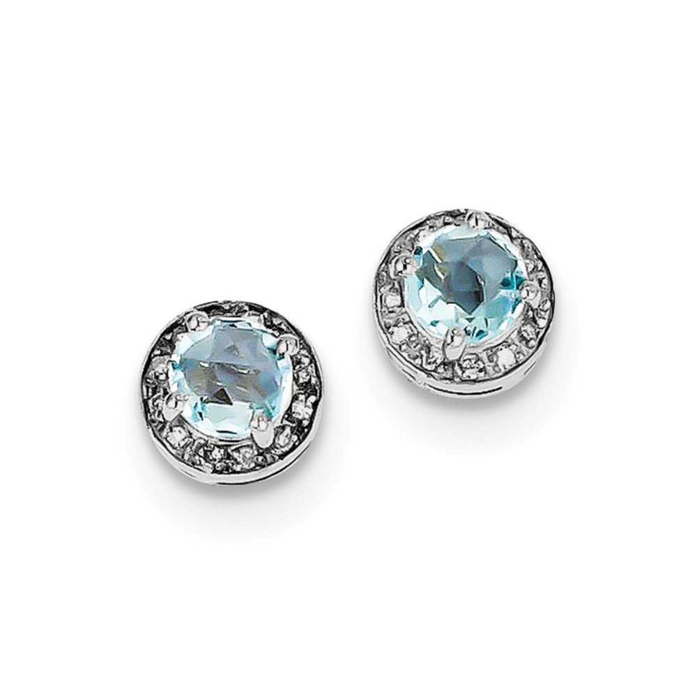 Sterling Silver Rhodium-plated Diamond & Blue Topaz Earring