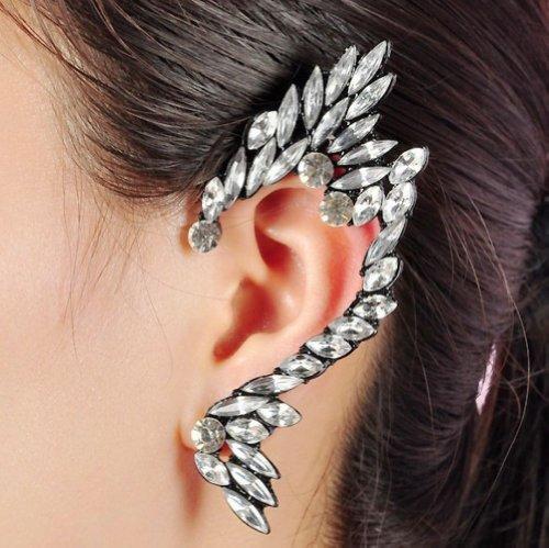 Wiipu Celebs Silver Crystal Angel Ear Cuff Earring Stud Earring Punk Emo Goth One Pic(D62)