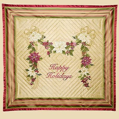 Poinsettia Swag Anita Goodesign Embroidery Machine Design CD 68AGHD