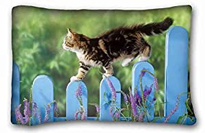 Custom Cotton & Polyester Soft Animal Custom Cotton & Polyester Soft Rectangle Pillow Case Cover 20x30 inches (One Side) suitable for Full-bed