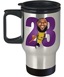 4db6feef122 Lebron Lakers Travel Mug Gift for LA Basketball James Sports Fan Birthday  Christmas 14oz Stainless Steel