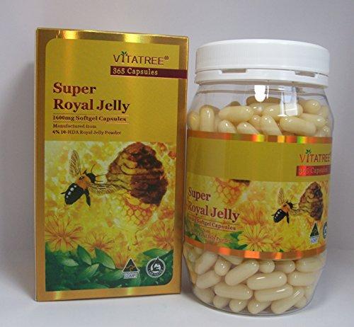 Vitatree Super Royal Jelly 1600 Mg 6% 10 HDA Powder 365 Capsules Australian Made