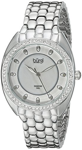 Burgi Women's BUR145SS Silver Quartz Watch With Swarovski Crystal and Diamond Mother of Pearl Dial With Silver Bracelet